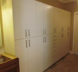 Bathroom wall of cabinets