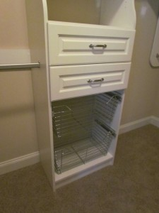Closet Wire Baskets Below Drawers