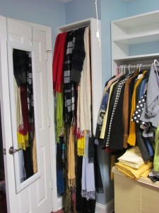 Scarves on Belt Rack