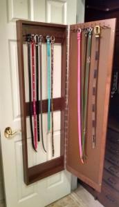 Mirror Door Belt Rack Cabinet Open